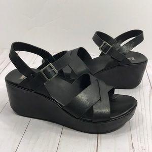 Kork-Ease black leather platform strappy sandals